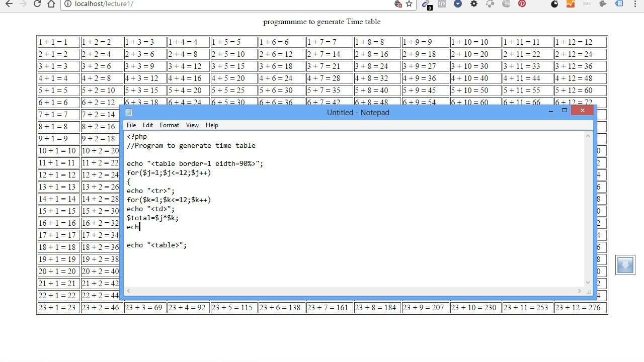 Multiplication table in php youtube multiplication table in php gamestrikefo Images