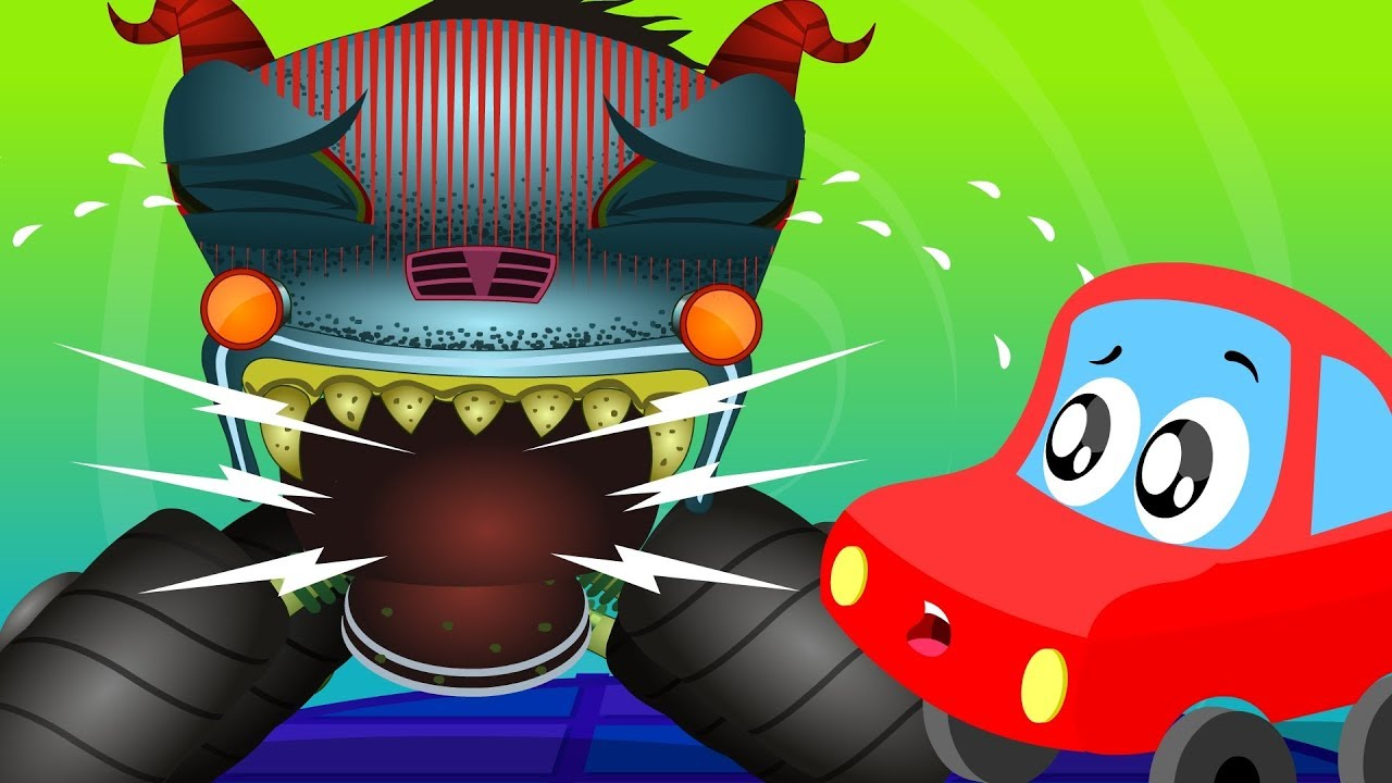 Monster Truck Was Hunting | Little Red Car Videos For Children