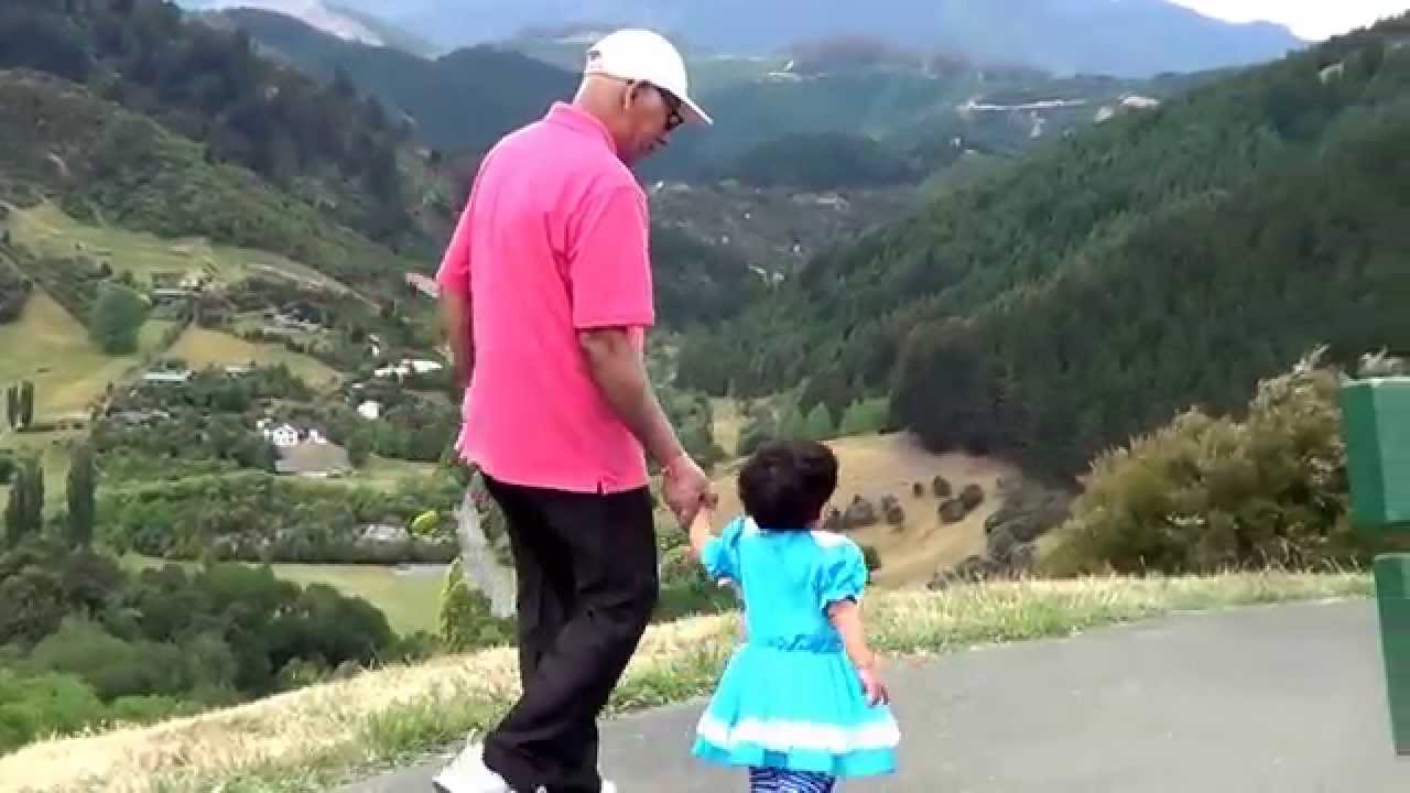 Grandfather And Granddaughter At Center Of New Zealand -9594