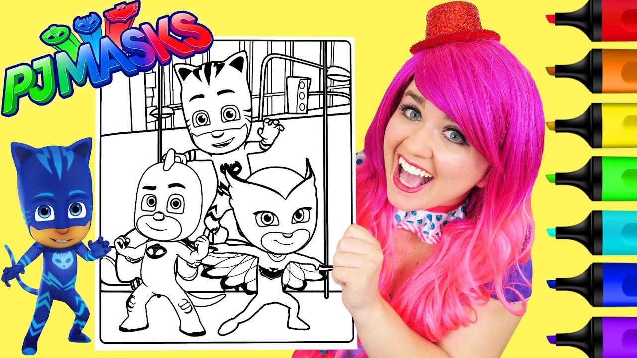 coloring pj masks catboy owlette & gekko coloring page