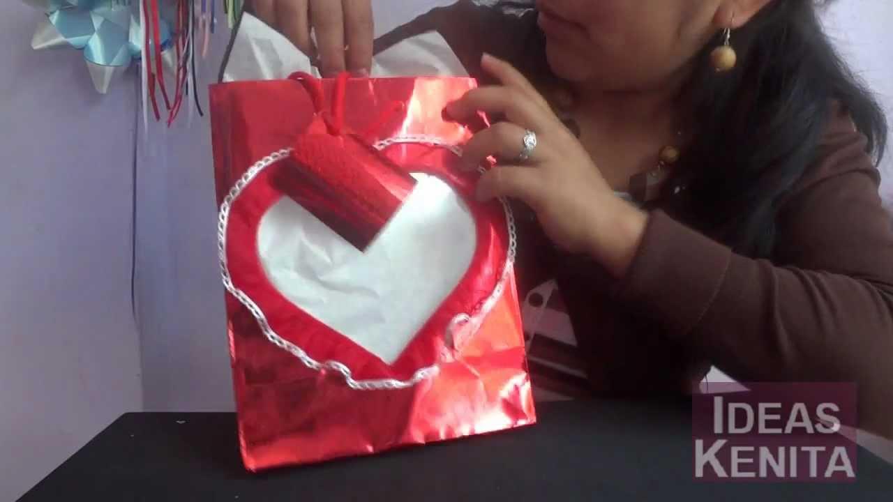 Decorar bolsa de regalo para el 14 de febrero youtube - Bolsas para decorar ...