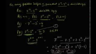 Proof by Mathematical Induction that 7^n - 3^n is divisible by 4 for all values of n