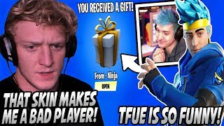 "Tfue Tries Using NINJA'S SKIN But QUICKLY Has To Change It After It Makes Him ""BAD""! Ninja REACTS!"