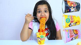 تحدي نودلز الكوري الحار !! Mukbang Fire Spicy Noodle
