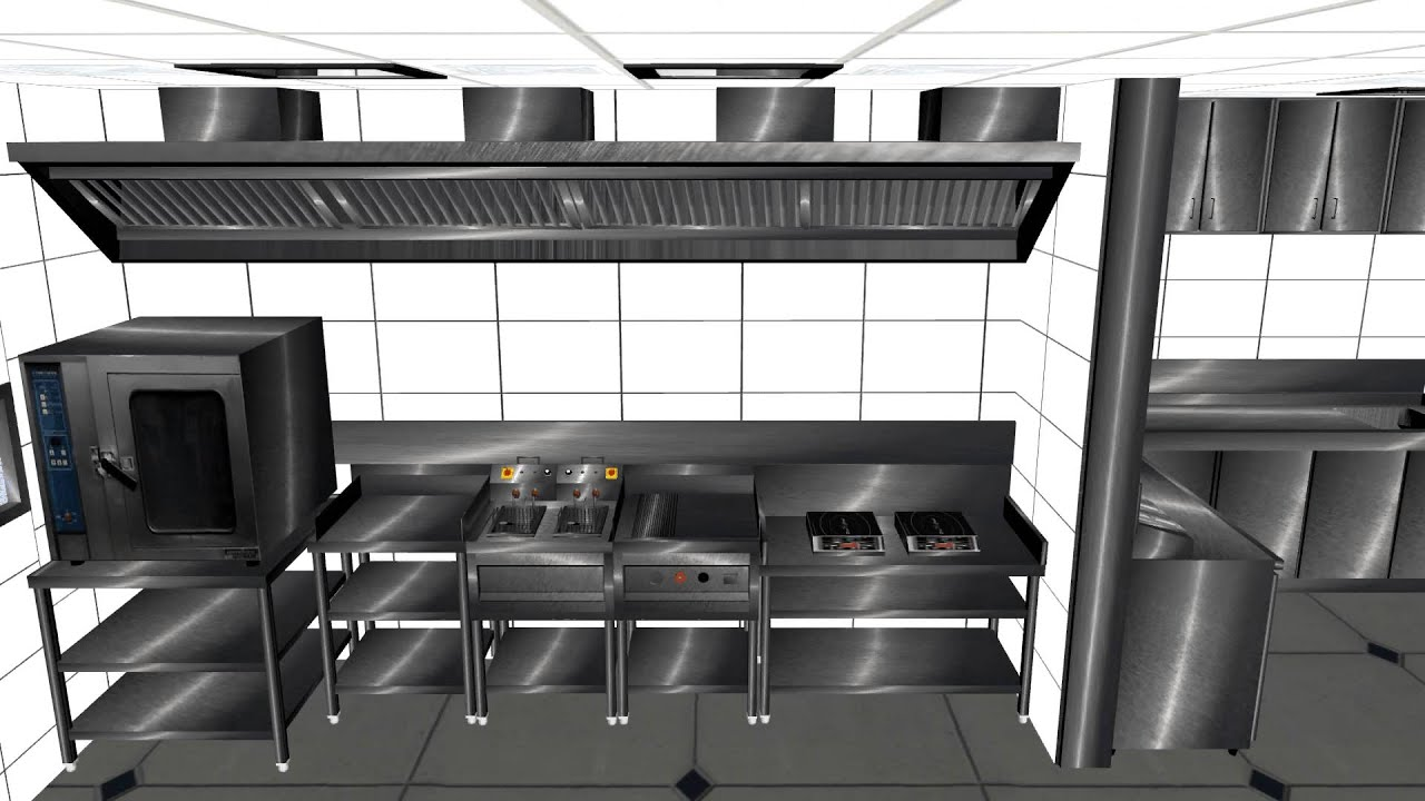 Commercial kitchen design in 3ds max youtube for Kitchen set up for restaurant
