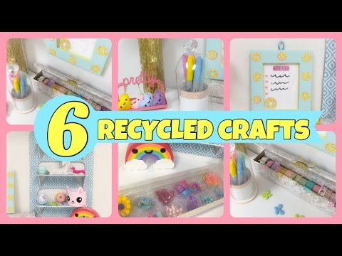 6 recycled crafts to organizeroom decor youtube for Recycled room decoration crafts