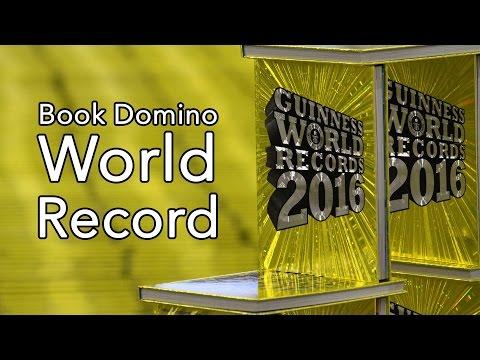 World Record: 10,000 Guinness Books - Largest book domino chain - Frankfurt Book Fair