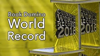 World Record: 10,000 Guinness Books - Largest book domino chain - Frankfurt Book Fair