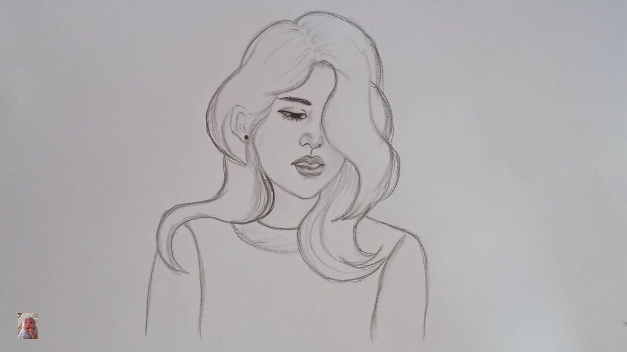 Vẽ cô gái đẹp dịu dàng đơn giản, dễ vẽ -Drawing beautiful girl tenderly simple, easy to draw.