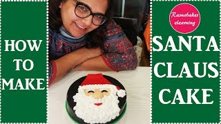 Santa clause face on cake:christmas cake decorations classes video