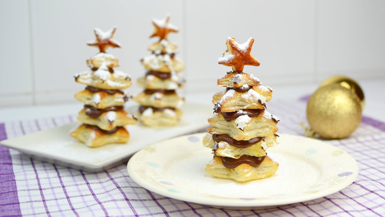 Nutella Christmas Tree.Puff Pastry Christmas Trees With Nutella Easy Christmas Dessert Recipe