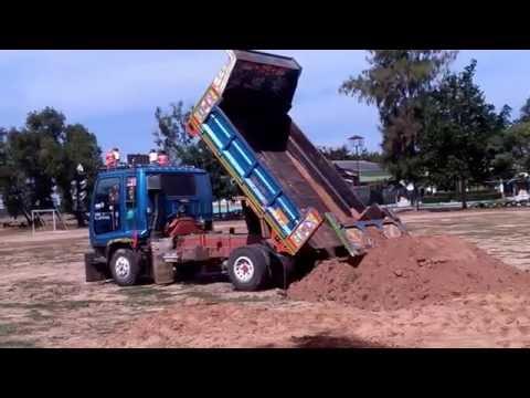 รถดั้ม 6 ล้อ  เทดิน ที่สนามโรงเรียน  Trucks Thailand