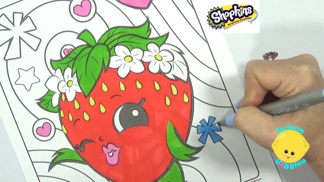 Speed coloring shopkins strawberry kiss with markers for Strawberry kiss shopkins coloring page