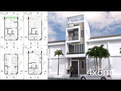 SketchUp Modern Narrow Home Plan 4x6m