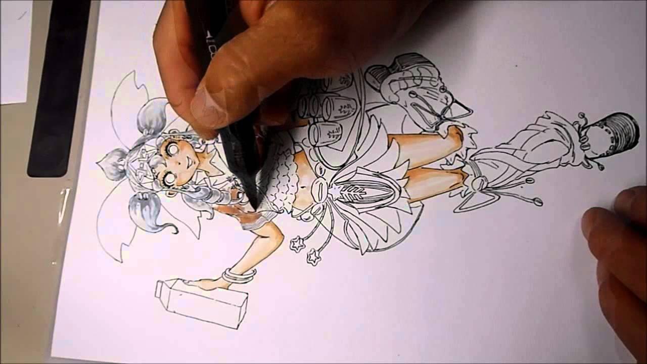コピックで描くコミックイラスト10 アナログ手描き - youtube