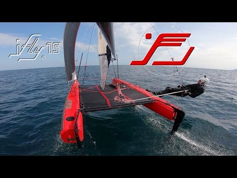 IFLY15 Full Foiling In 6kts. Of Wind. Hydrofoil Catamaran With Revolutionary Light Wind Front Sail