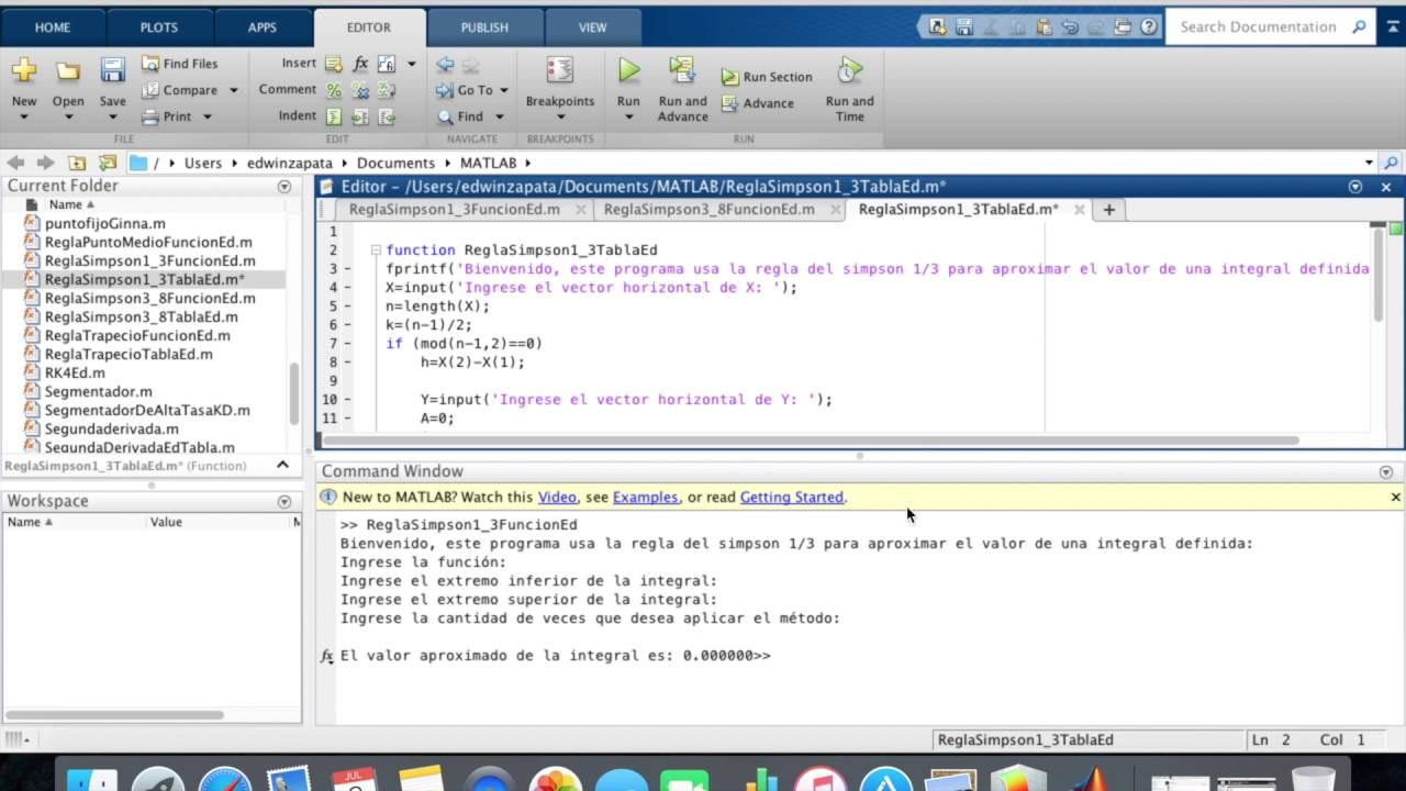 Reglas 1/3 y 3/8 Simpson en Matlab