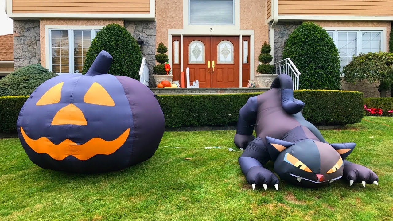 2017 Decorations Giant Inflatable Animated Cat Pumpkin Signs