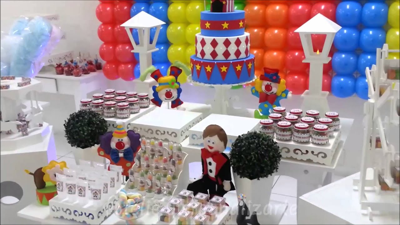 Decoracao Yotube ~ Decoraç u00e3o de festa infantil Circo YouTube