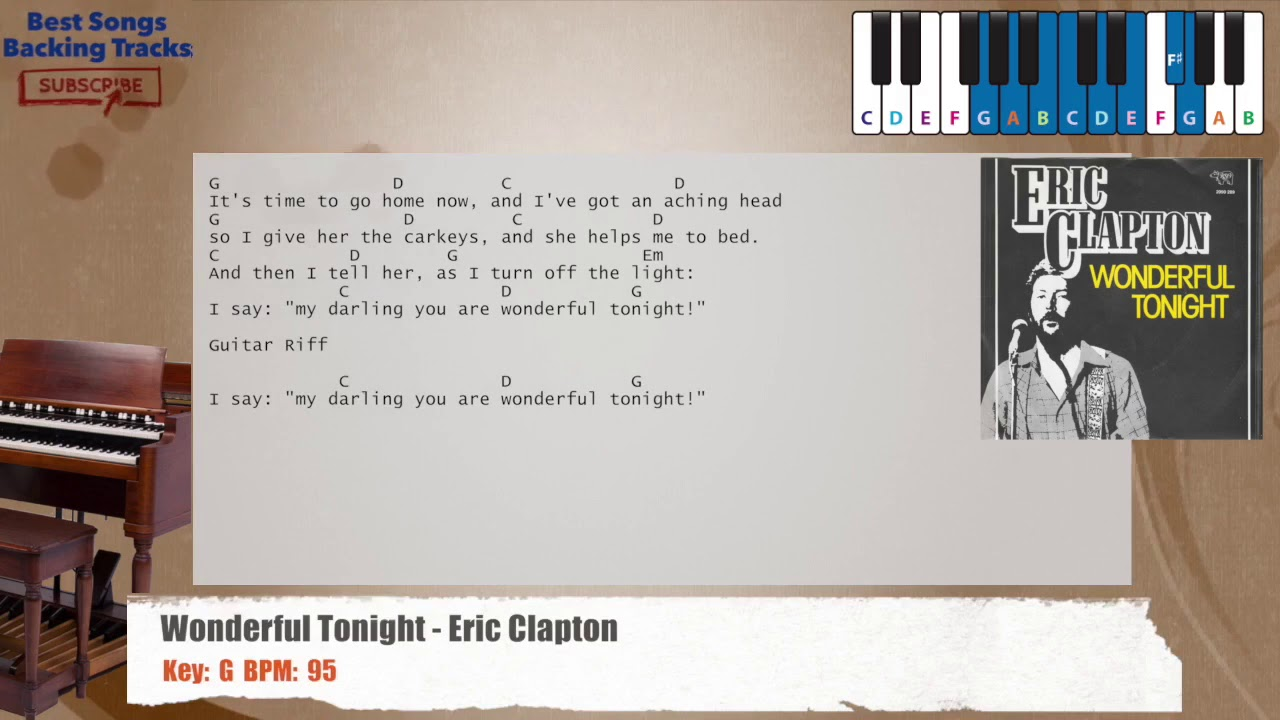Wonderful Tonight Eric Clapton Piano Backing Track With Chords And