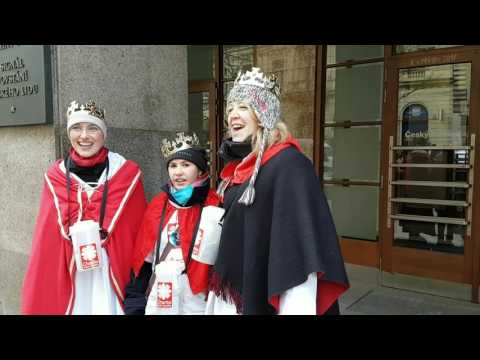 Three Kings charity carolers outside Czech Radio 2017