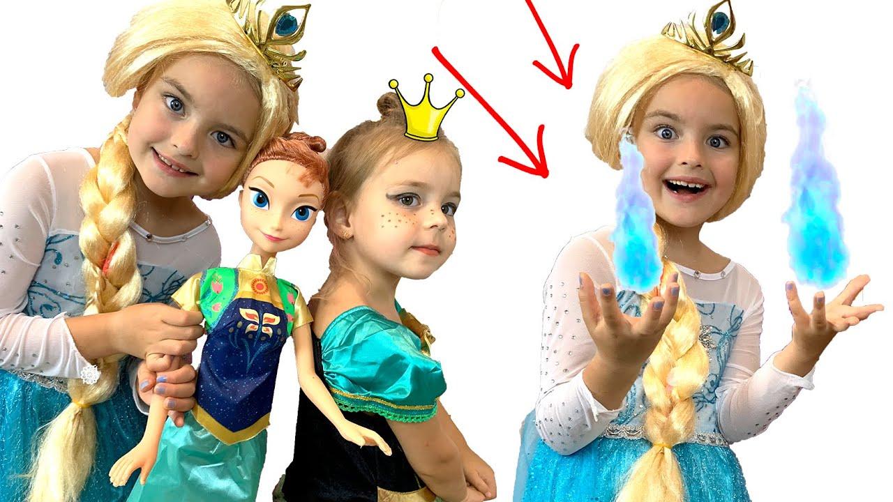 Яна как принцесса Анна наряжается и делает Макияж ! Алиса ...