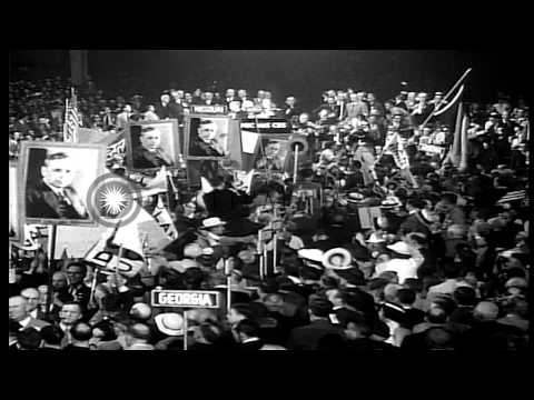 Crowd shows respect to former US President Herbert Hoover at the Republican Natio...HD Stock Footage