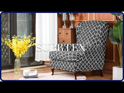How to install 2 piece Cloud Printed Wingback Chair Slipcovers by Subrtex