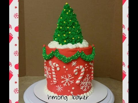 Christmas Tree Cake. A Christmas Theme Cake. Cake Decorating