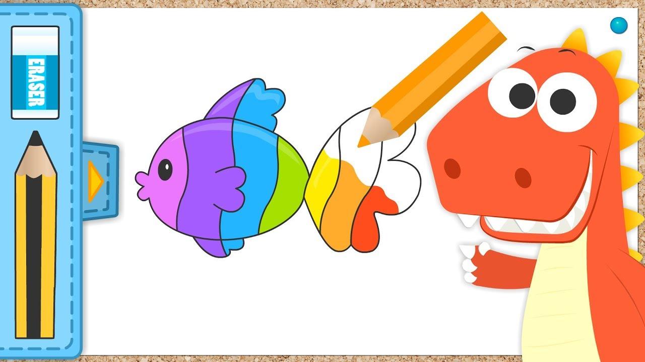 Aprende a colorear un Pez Arcoiris con Eddie | EDDIE: el dinosaurio colorea un Pez Multicolor