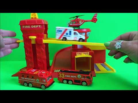 VANCOUVER FIRE STATION CITY SET UNBOXING Inc. FIRE ENGINE, HELICOPTER,  AMBULANCE + EXPLOSIVE UNIT