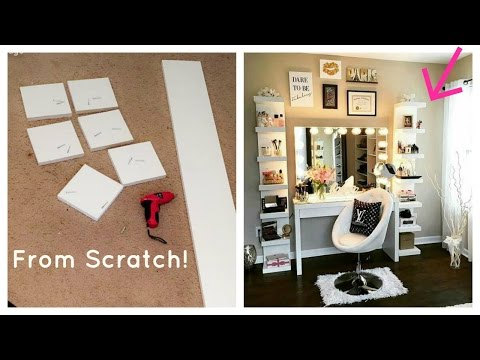 DIY IKEA Lack Shelf | Glam Beauty Room Makeup Organizer