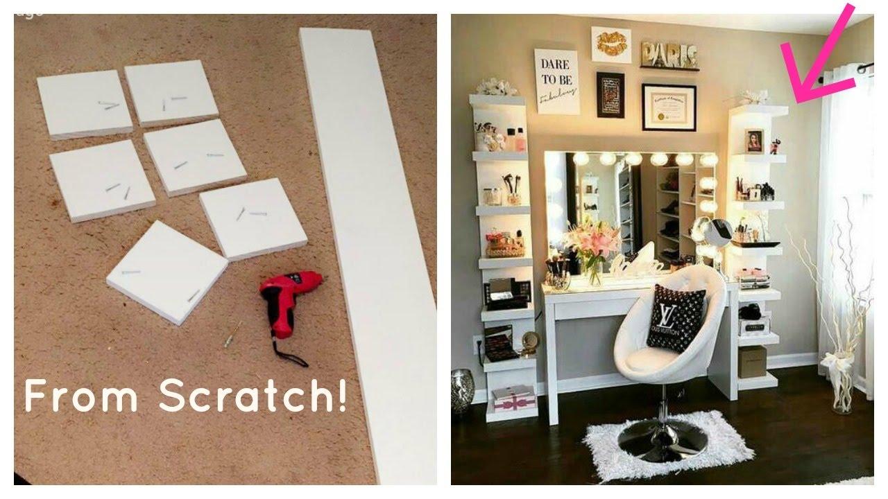 diy ikea lack shelf glam beauty room makeup organizer youtube. Black Bedroom Furniture Sets. Home Design Ideas