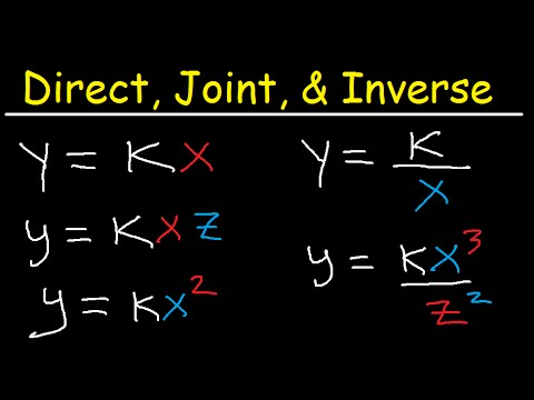 Direct Inverse and Joint Variation Word Problems