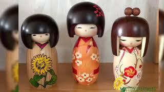 Búp bê Kokeshi búp bê gỗ handmade Nhật Bản