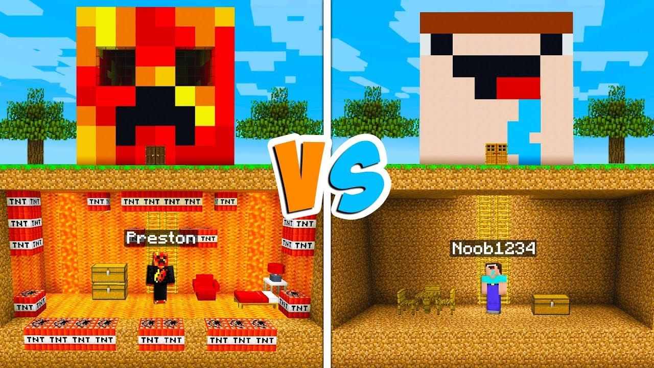 Preston Vs Noob1234 Secret Underground House Battle  - Minecraft