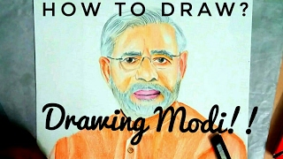 How to draw PM Narendra Modi-How to draw a portrait-Drawing with pencil colours-#Celebportrait 3