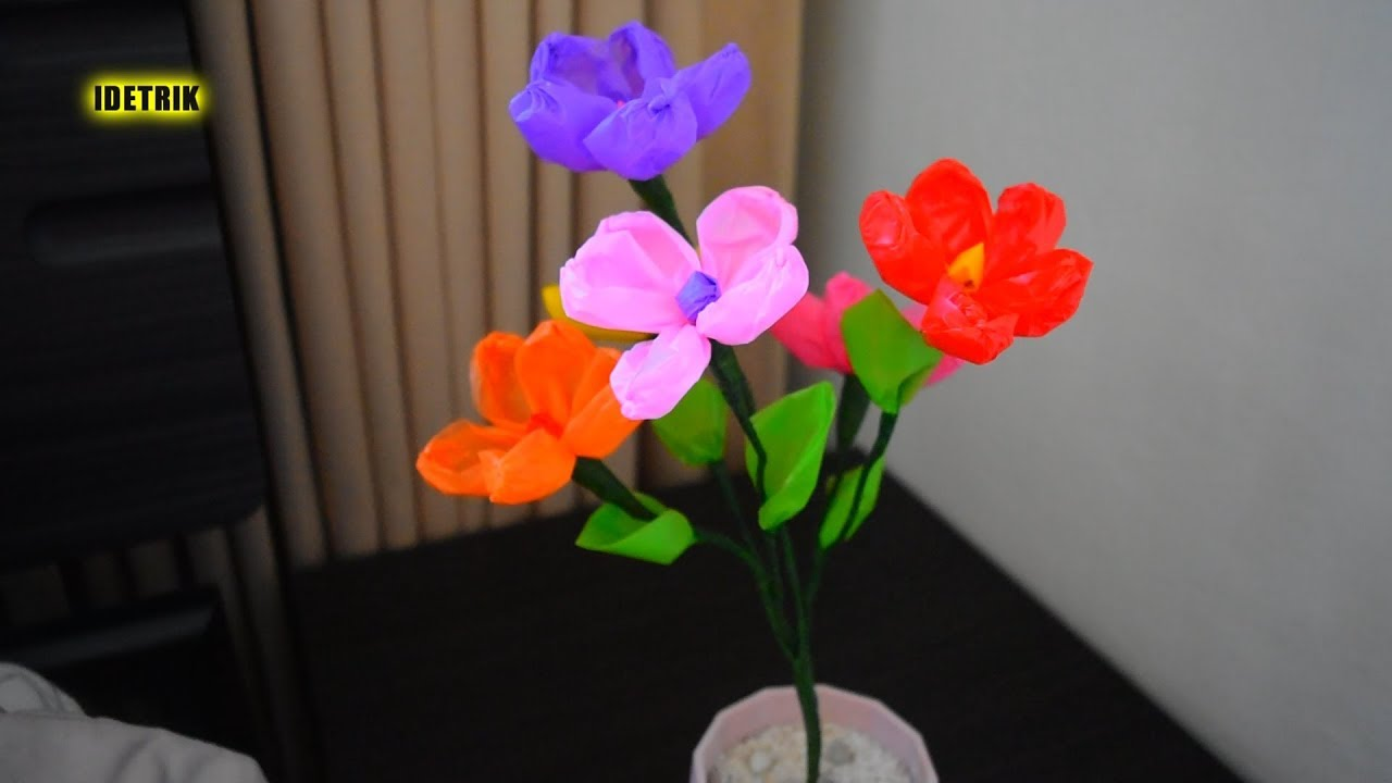 Ide Kerajinan Bunga Dari Kantong Plastik Kresek Youtube