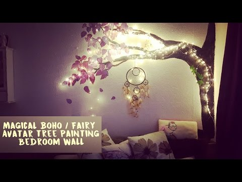 Magical Boho Fairy Avatar Tree Painting On Bedroom Wall