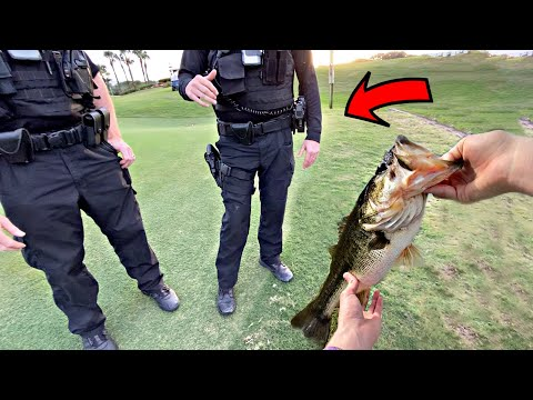 Almost ARRESTED For Fishing Golf Course Pond! (COPS CAME)
