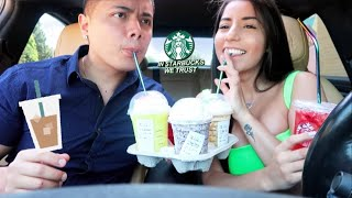 Trying My Subscribers FAVORITE Starbucks Drinks! PART 2.