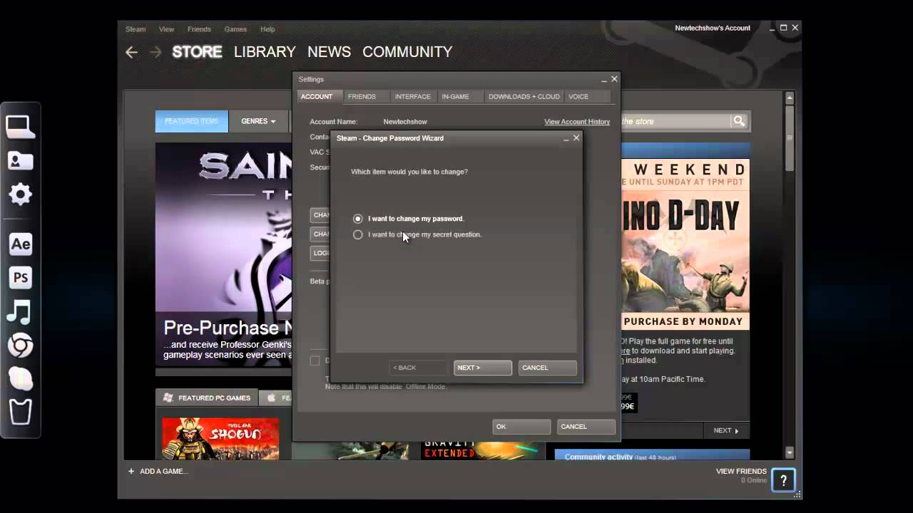 How to change password on steam (HD)