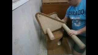 обзор как собрать когтеточку-домик для кошки