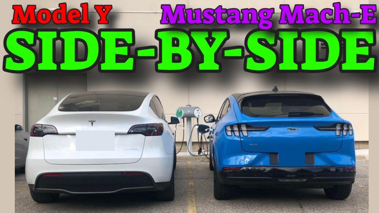 Tesla Model Y - SIDE-BY-SIDE MUSTANG MACH-E [prototype]