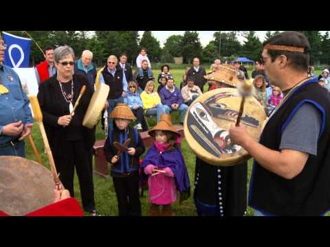 Native American drumming at The Village opening at Fort Vancouver National Historic Site