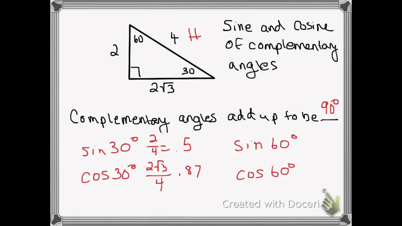 worksheet Complementary Angle 26 sine and cosine of complementary angles youtube angles