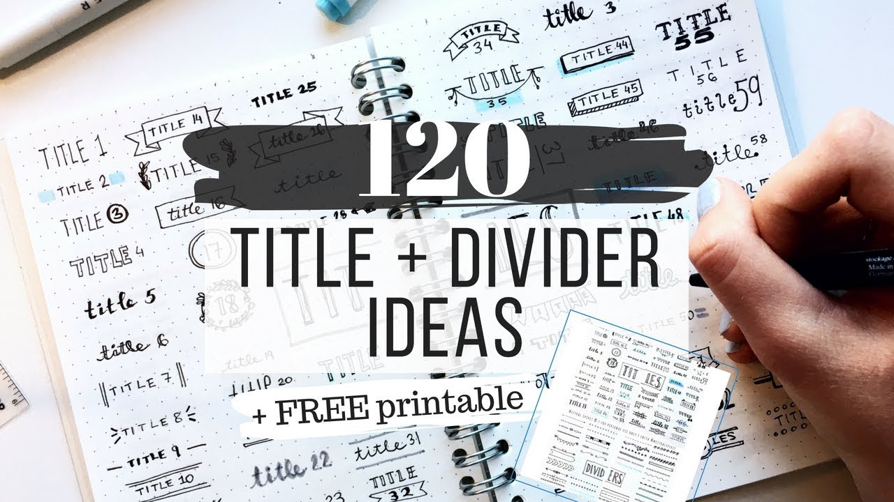 title and divider styles free printable 120 ideas for your notes