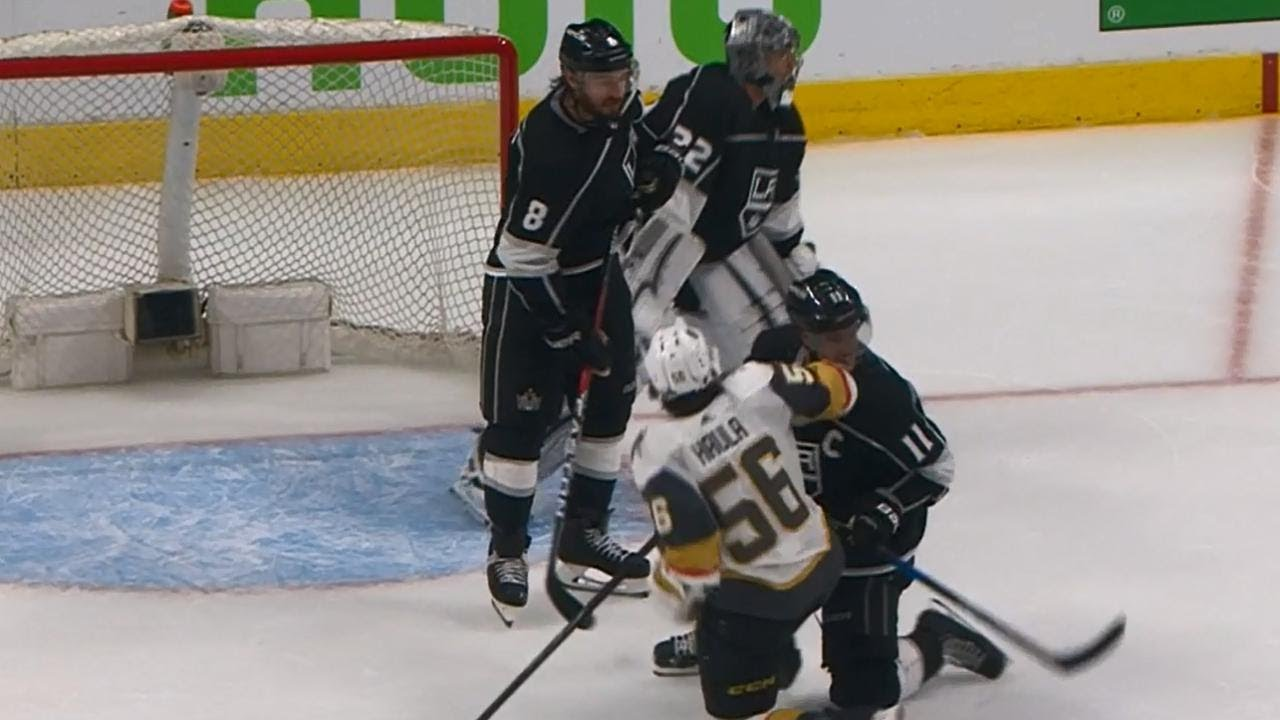 Golden Knights' Haula appears to butt-end Kopitar in the face