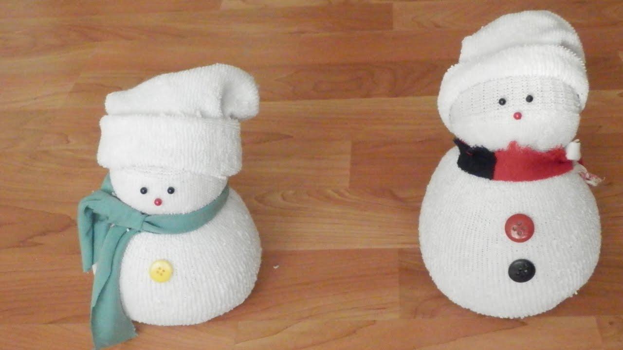 manualidades mu eco de nieve con calcet n christmas