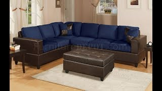 Blue Microfiber Sectional Sofa